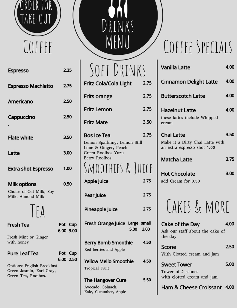 Our drinks menu offering a wide variety of coffees, teas, soft drinks, smoothies and juices.
