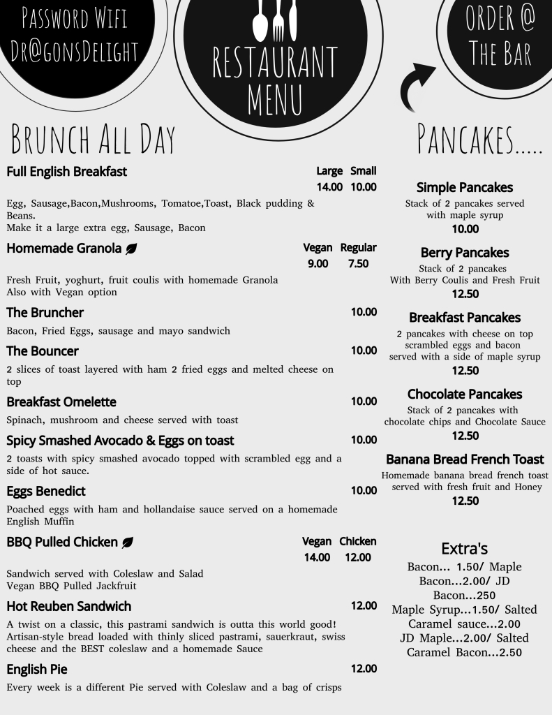 Our food menu offering a variety of hot and cold breakfasts, lunches, cakes and pancakes. Plenty of vegan options. Gluten free available too.